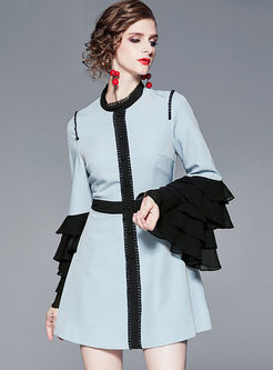 Flare Sleeve Patchwork Mini Skater Dress