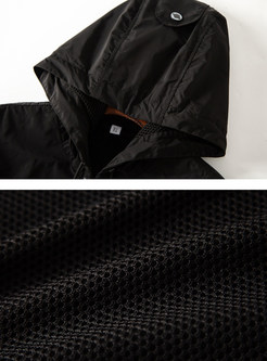 Black Letter Patchwork Zipper Hooded Coat