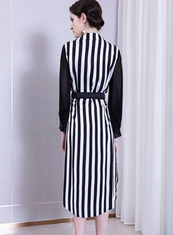 Lapel Patchwork Striped Waist Tee Dress