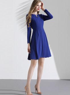 Solid Collar O-neck Split Waist A Line Dress