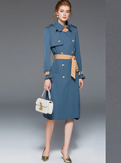 Casual Turn Down Collar Patchwork Slim Trench Coat