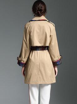 Fashion Lapel Color-blocked Patchwork Plaid Trench Coat