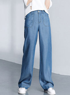 Casual High Waisted Wide Leg Denim Pants