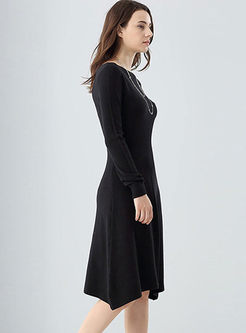Slash Neck Long Sleeve Knitted Dress