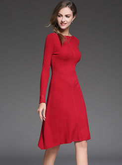 Red Slim Irregular Hem A Line Sweater Dress