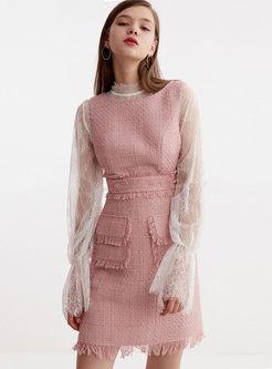 Sweet O-neck Sleeveless Tweed Tassel Dress