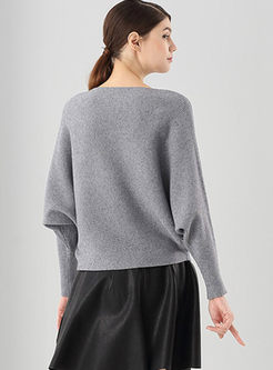 Bat Sleeve Loose Pullover Sweater