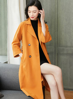Notched Double-breasted Waist Trench Coat