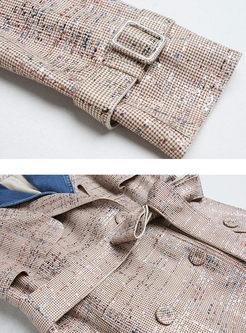 Denim Patchwork Lapel Loose Trench Coat