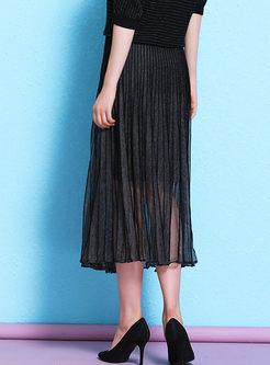High Waisted Mesh Pleated A Line Skirt