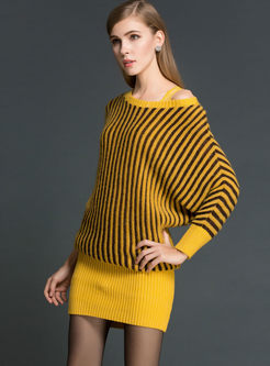 Off Shoulder Striped Slim Sweater Dress