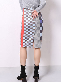 Color-blocked High Waisted Plaid Slim Skirt