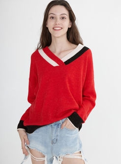 V-neck Long Sleeve Pullover Sweater