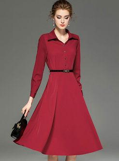 Lapel Big Hem A Line Dress With Belt