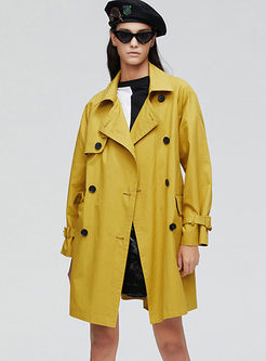 Lapel Double-breasted Waist Trench Coat