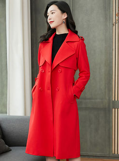 Brief Red Long Sleeve A Line Trench Coat