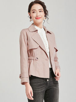 Pink Notched Long Sleeve Short Coat