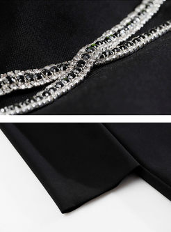 Black O-neck Slim Bodycon Sweater Dress