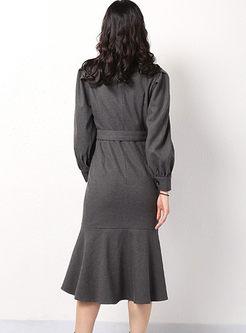 Notched Long Sleeve Bodycon Mermaid Dress