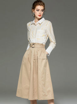 Letter Print Shirt & High Waisted A Line Skirt