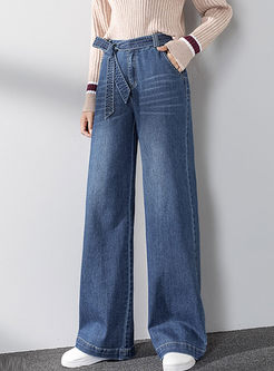 Bowknot High Waisted Denim Wide Leg Pants