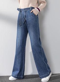 Bowknot High Waisted Denim Wide Leg Pants
