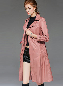 Solid Color Lapel Waist Slim Trench Coat With Drawcord