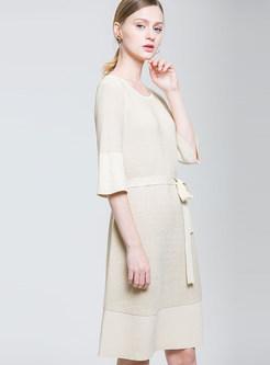 O-neck 3/4 Sleeve Patchwork Striped Waist Skater Dress