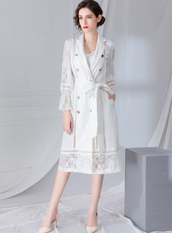 White Lapel Lace Patchwork Double-breasted Trench Coat