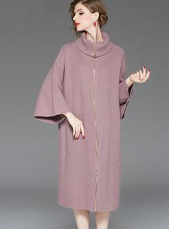Solid Color Lapel Zipper Shift Knit Dress