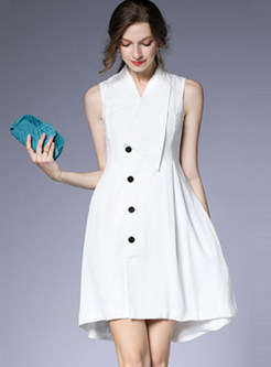 V-neck Sleeveless Single-breasted A Line Dress