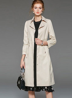 Turn Down Collar Waist Slim Trench Coat With Drawcord