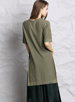 Solid Color Short Before Loose Pullover T-shirt