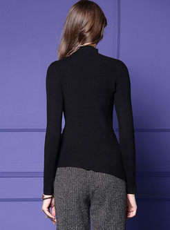 Solid Color Pullover Slim Asymmetric Sweater