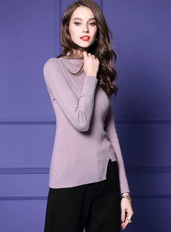 Brief Slim Pullover Irregular Sweater