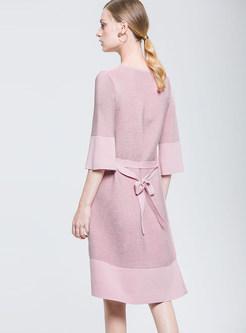 Pink 3/4 Sleeve Patchwork Striped Waist Skater Dress