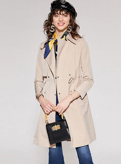 Lapel Long Sleeve Drawcord Trench Coat