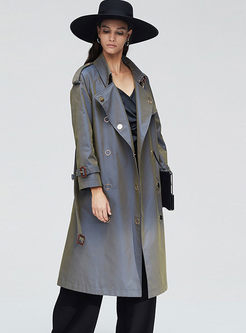 Turn Down Collar Metal Ring Trench Coat