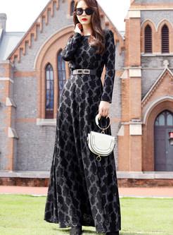 O-neck Print Waist A Line Maxi Dress