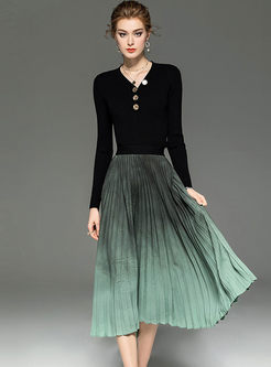 Black V-neck Slim Sweater & Pleated Skirt