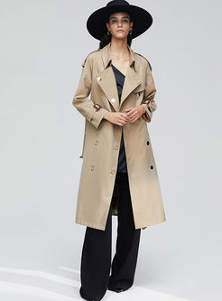 Solid Color Long Sleeve Long Trench Coat