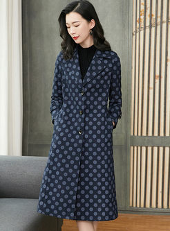 Long Sleeve Dot Single-breasted Trench Coat