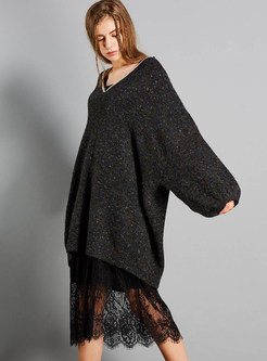V-neck Lantern Sleeve Patchwork Lace Pullover Sweater