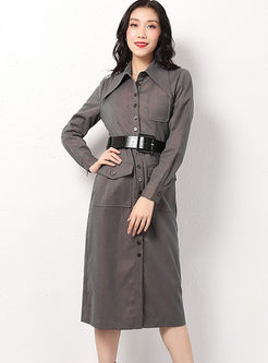 Casual Long Sleeve Single-breasted Slim Dress