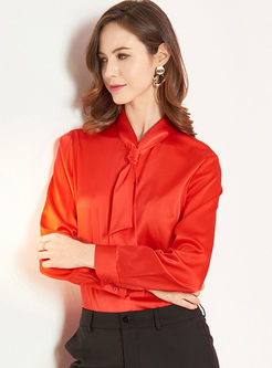 Red Tie Long Sleeve Silk Blouse