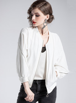 White V-neck Zipper Short Jacket