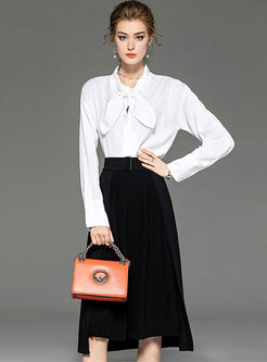 White Bowknot Blouse & A Line Skirt