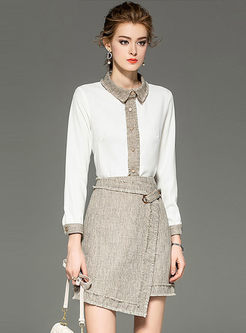 Fashion Lapel Patchwork Two Piece Outfits