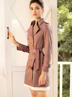 Solid Color Turn Down Collar Slim Coat