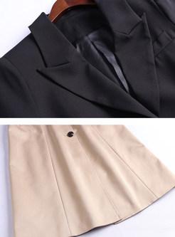 Lapel Color-blocked Patchwork Waist Trench Coat